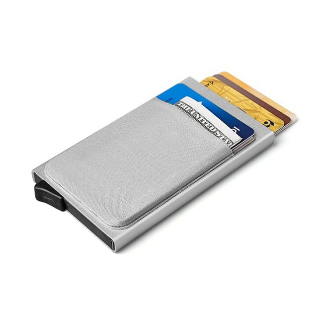 Men Aluminum Wallet With Back Pocket ID Card Holder RFID Blocking Mini Slim Metal Wallet Automatic Pop up Credit Card Coin Purse
