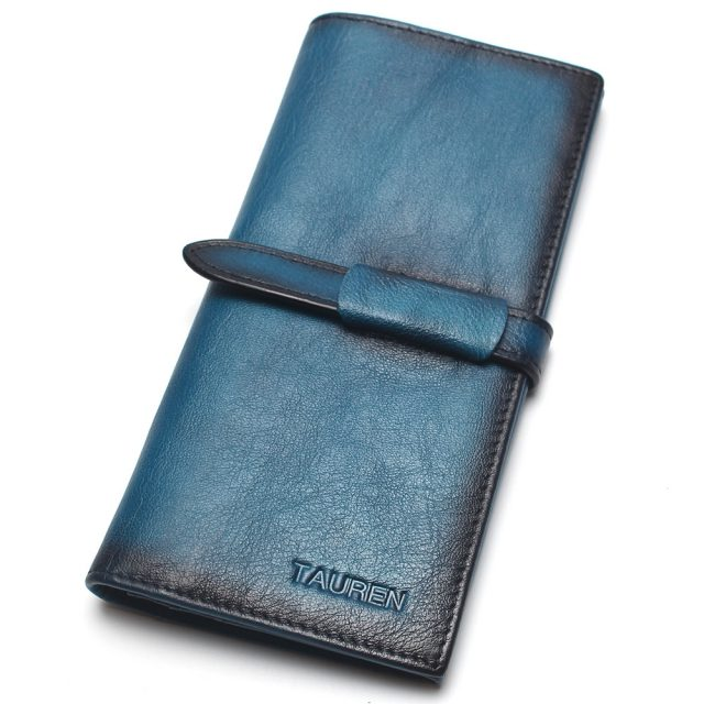 RFID 100% Classic Genuine Brush Natural Leather Wallet
